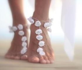 Dancer tiny flowers barefoot sandal, beach wedding barefoot sandals, bangle, wedding anklet,nude shoes